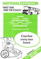 Timetable - National Express Coach Dover Gatwick Bournemouth - Jan 1983 Unmarked