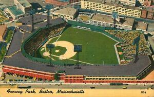 Linen Postcard Fenway Park, Boston Massachusetts Red Sox Baseball,Yanks Football