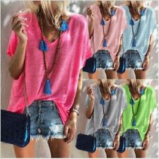 Summer Women Casual Short Sleeve T Shirt V Neck Candy Colors Tops Loose Blouse