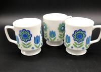 3 VTG 1960s Mid Century MOD Flower Power Tulip Porcelain Pedestal Coffee Cups