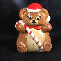 Vintage Ceramic Teddy Bear Santa Hat Candy Cane Coin Bank