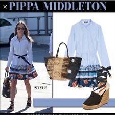 Maje Poplin Shirt Dress 1 Small Rafina Blue Pippa Middleton Belt Loops NWT $495