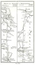 Antique map, Roads from Mallow to Newcastle, Tralee to Killarney & to Castlemain