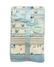 RECEIVING X4 - PETITE BOYS - DOG PUPPIE BLUE - BLANKETS COTTON 4 PACK BABY