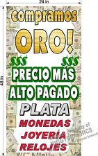 2' x 4'  BANNER WE BUY GOLD SILVER ESPANOL SPANISH TEXT