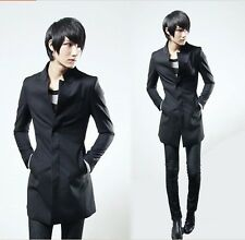 British Style Fashion Men's Korean Slim Fit Stand Collar Cotton Wool Trench Coat