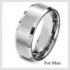 8mm Fashion Stainless Steel Titanium Band Ring Men/Women's Wedding Silver Size 9