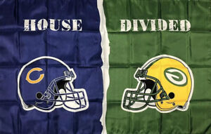 Chicago Bears vs Green Bay Packers House Divided Flag 3x5 ft NFL Sports Banner