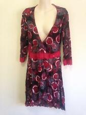 Motto Faye Browne Black Red Floral Crossover Asymmetrical 3/4 Sleeve Top  - EUC
