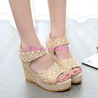 Summer Womens Open Toe Sandals Wedge Heel Low Top Shoes Slingbacks High Platform