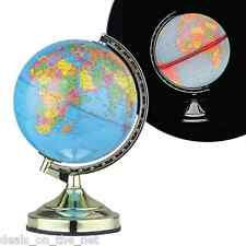 """13"""" 32CM DESK TOP BEDROOM OFFICE WORLD GLOBE BRASS POLISHED TABLE TOUCH LAMP"""