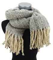 Damenschal grau beige lange Fransen Ella Jonte Herbst Winter kuschelweich new in