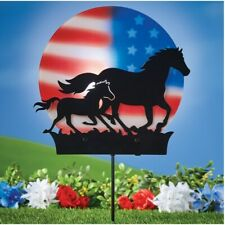Solar Powered Americana Galloping Horse 4th July Silhouette Garden Stake