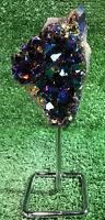 """8"""" Amethyst Aura Flame Rainbow Titanium Crystal Quartz W/ Stand"""