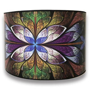 Decorative Handmade Lamp Shade - Made in USA - Purple Flower Design