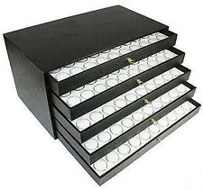 250 Gem Jar Case 5 Drawer Nugget White Display Box Coin Storage Cabinet Jar Case