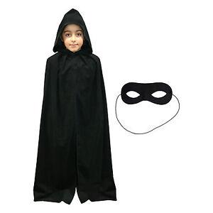 Kids Black Superhero Fancy Dress Cape / Cloak & Eye Mask (WORLD BOOK DAY)