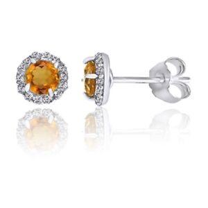November Birthstone Citrine & White Topaz Stud Earrings 925 Sterling Silver