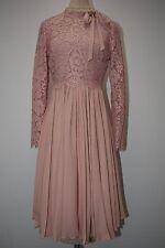 New VALENTINO Dentelle Lace Fluid Plisse Crepe Dress PALE PINK Rose Nude 8