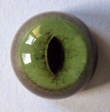 14MM GLASS GREEN DOMESTIC CAT EYES. 1 PAIR. TAXIDERMY. CRAFTS. MODELS. CC BACK.