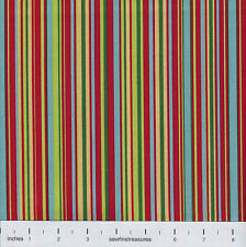 Dick and Jane PLAY STRIPE RED Coordinate Michael Miller Fabric By FQ - 1/4 YD