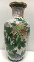 "Antique 12"" JINGFA CLOISONNE White Enamel Floral Brass Vase Butterfly Rep China"