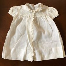 Antique Newborn baby cotton Organdy Embroidery Lace embroidery white dress shirt