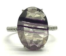 10K White Gold Oval Purple Fluorite - Diamond Pave Cocktail Band Ring Size 6.75