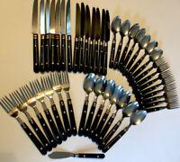 VTG Flatware Stainless & Black Plastic Handle Rivets ~ Complete Set ~ 43 Pieces