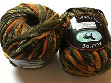 LOT of 2 Dark Horse Yarns Allure #109 Orange Black Gold Metallic & Matte Ribbon