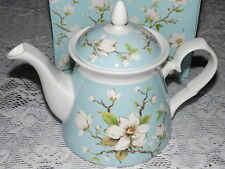 Ashdene Magnolia Blue 1L Teapot / New in Box + Strainer with Bowl