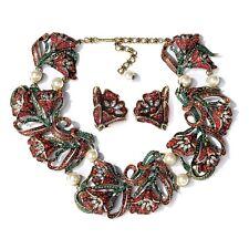 Heidi Daus Tulips in Bloom Bib Necklace Earring Set SWAROVSKI CRYSTAL GORGEOUS!!