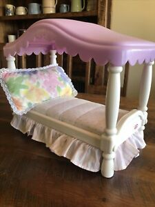 Vintage 1990's Little Tikes My Size Barbie Dollhouse Furniture Canopy Bed Pillow