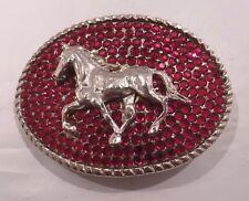RHINESTONE COWGIRL RED Crystal Silver Horse Western Belt Buckle
