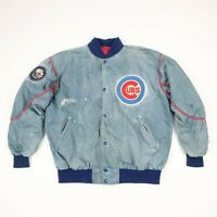 Destroyed Vtg 80s Chicago Cubs Starter Bomber Jacket L Sun Faded Paint Distress
