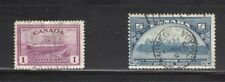 CANADA USED STAMPS-SCOTT # 202, 273 -5 CENT BLUE AND 1 DOLLAR RED (Lot Canada12)