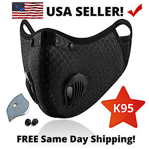 Cycling Sport Face Mask With Activated Carbon Filter Breathing Valves Washable