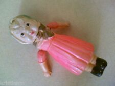 "Older Celluloid Little girl with Bow, Cap and Pink Dress 4"" Moving Arms"