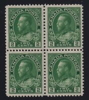 Canada Sc #107iv (1923-5) 2c yellow green Admiral Block of 4 Mint VF NH
