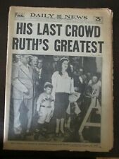 BABE RUTH PASSING DAILY NEWS NEWSPAPER AUGUST 20 1948