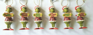 Jim Shore Set of 6 HOW THE GRINCH STOLE CHRISTMAS Ornaments w/ Signs NEW 2021