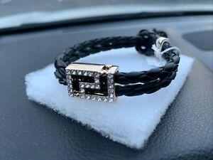 "Park Lane ""MEDUSA"" Bracelet Black Vegan Leather  w/ Crystals Pretty! Reg. $80"