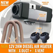 NEW 12 Volt 2KW Planer Diesel Air Heater 2 x Vent 2 x Duct Caravan Motorhome RV