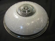Vintage Art Deco Mid Century Glass Lamp Ceiling LIght Fixture Shade Round Shape