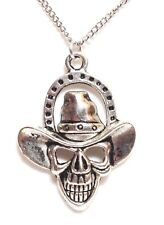 "COWBOY SKULL_Pendant + 20"" Chain Link Necklace_Skeleton Goth Western Silver_200N"