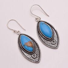 925 Sterling Silver Overlay Earrings, Handmade Gemstone Antique Jewelry PE782