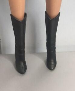 Original Barbie Doll Shoes -  Calf Length Black Boots - Fashionistas