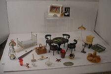 Vintage Lot Doll House Miniatures Wooden Furniture German Brass Pewter Glass