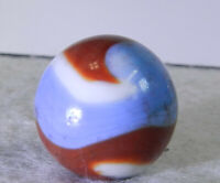 #11250m Vintage Akro Agate Red White and Blue Corkscrew Shooter Marble .76 In