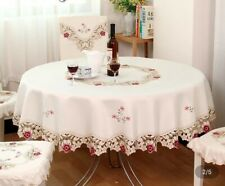 Embroidery Fabric tablecloth Oval Flower 52x70 Ivory